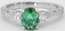 Seafoam Tourmaline and Diamond Engagement Ring
