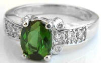 Green Tourmaline and Diamond Engagement Rings in 14k