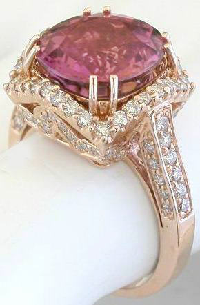 Rose Gold Pink Tourmaline Engagement Ring Gr 9106