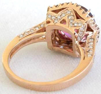 Rose Gold Pink Tourmaline and Diamond Ring GR9106