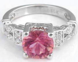 Round Pink Tourmaline Diamond Rings