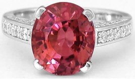 Oval Pink Tourmaline Rings in 14k