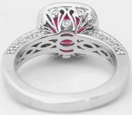 Cushion Cut Pink Tourmaline and Diamond Engagement Ring