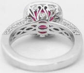 Diamond Studded Filigree Basket for Vintage Cushion Cut Pink Tourmaline Engagement Ring