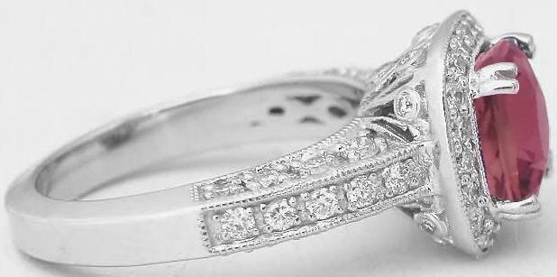 Cushion Cut Pink Tourmaline And Diamond Engagement Ring