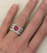 Cushion Cut Pink Tourmaline Engagement Ring with 2 Matching Bands