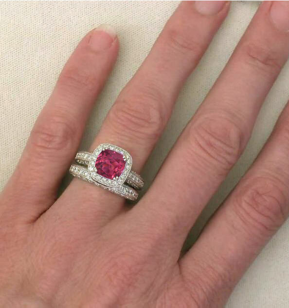 il watermelon color rings tourmaline bi ring engagement listing