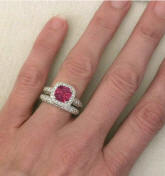 Cushion Cut Pink Tourmaline Engagement Ring with Matching Band