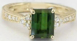 Emerad Cut Green Tourmaline Rings