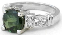8mm Round Green Tourmaline and Diamond Rings