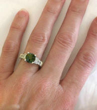 Green Tourmaline and Diamond Rings in 14k