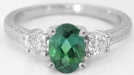 Green Tourmaline 3 Stone  Rings