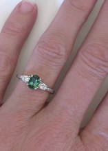 Green Tourmaline and Diamond Ring with Engraving