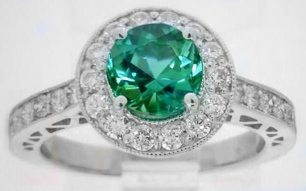 Seafoam Tourmaline Ring With Diamond Halo And Milgrain