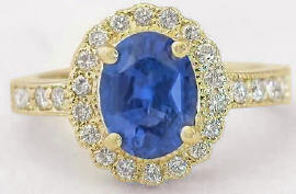 Unheated Blue Sapphire and Diamond Ring in 14k yellow gold