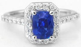 Unheated Cushion Blue Sapphire and Diamond Ring in 14k white gold