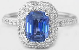Unheated Ceylon Sapphire and Diamond Engagement Ring in 14k white gold