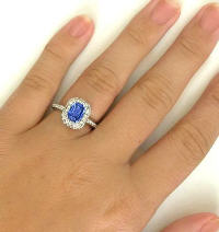 Unheated Ceylon Sapphire and Diamond Wedding Rings in 14k white gold