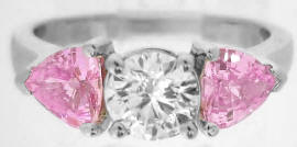 2.09 ctw Ideal Cut Diamond and Trillion Pink Sapphire Ring in 14k white gold