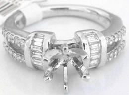 0.60 ctw Baguette and Round Diamond Engagement Semi Mount in Choice of Metals