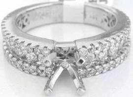 1.37 ctw Round Diamond Engagement Semi Mount Ring