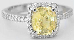 Cushion Cut Yellow Sapphire Diamond Engagement Ring