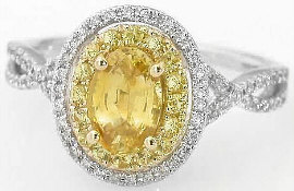 Yellow Sapphire Double Halo Engagement Rings