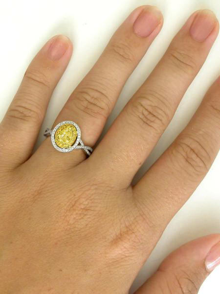 Yellow Sapphire Engagement Ring With Double Halo Of