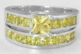 All Yellow Sapphire Engagement Ring and Wedding Band