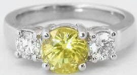 2.51 ctw Round Yellow Sapphire and Diamond Engagement Ring in 14k white gold