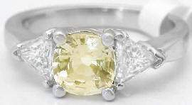 Cushion Cut Yellow and White Sapphire Ring in 14k white gold