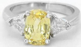 2.63 ctw Yellow Sapphire and Trillion Diamond Engagement Ring in 14k