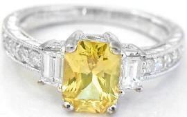 Yellow Sapphire Baguette Diamond Engagement Ring with Engraving