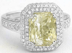 Radiant Cut Yellow Sapphire and Diamond Ring