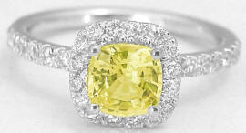 Cushion Cut Yellow Sapphire Diamond Ring