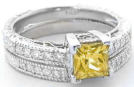 Antique Style Yellow Sapphire Engagement Ring with Matching Wedding Band