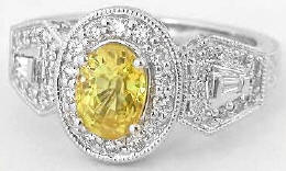 Yellow Sapphire Diamond Halo Vintage Engraved Engagement Ring