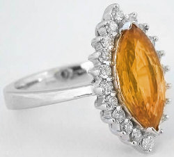 Marquise Yellow-Orange Sapphire and Diamond Halo Ring in 14k white gold