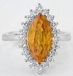 4.05 ctw Marquise Yellow-Orange Sapphire and Diamond Ring in 14k white gold