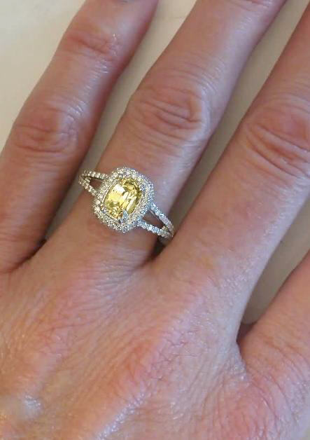 cushion cut yellow sapphire and pave diamond halo ring in. Black Bedroom Furniture Sets. Home Design Ideas