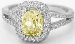 2.80 ctw Yellow Sapphire and Pave Diamond Ring in 18k white gold