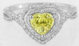 Heart Shaped Yellow Sapphire Engagement Rings