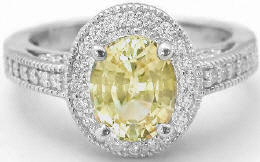 Vintage Style Yellow Sapphire Diamond Halo Engagement Ring in 14k