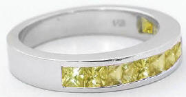 Princess Cut Yellow Sapphire Anniversary Band in 14k gold