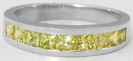 Princess Cut Yellow Sapphire Band in 14k white gold