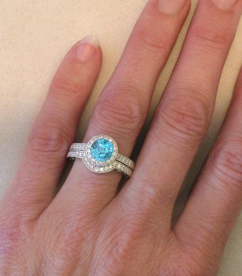 Round Blue Zircon Wedding Ring In 14k White Gold Gr 1069