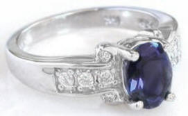 Iolite Engagement Rings in 14k White Gold