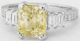 Unheated Yellow Sapphire and Diamond Ring in 18k white gold