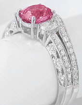 Peachy Pink Sapphire Diamond Engagement Ring in 14k