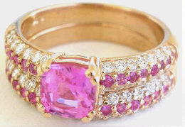 Cushion Cut Pink Sapphire and Pave Diamond Engagement Ring and Band  in 14k